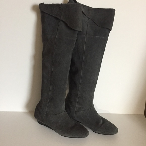 Chinese Laundry Shoes - Chinese Laundry TURBO Suede Grey Over Knee Boots